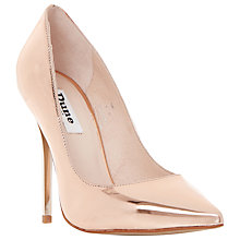 Buy Dune Aimey Leather High Heeled Stiletto Courts, Rose Gold Online at johnlewis.com