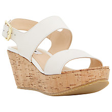 Buy Dune Kendell Leather Cork Wedges, Off White Online at johnlewis.com