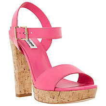 Buy Dune Marcella Leather Cork Heel Platform Sandals Online at johnlewis.com