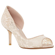 Buy Dune Dellarose Lace Peep Toe Court Shoes, Blush Online at johnlewis.com