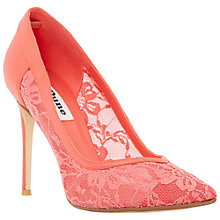 Buy Dune Buffie Lace Court Shoes, Coral Online at johnlewis.com