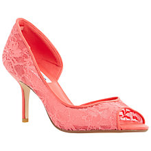 Buy Dune Dellarose Lace Peep Toe Court Shoes, Coral Online at johnlewis.com