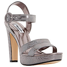 Buy Dune Marthaa High Block Heeled Platform Sandals, Pewter Leather Online at johnlewis.com