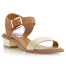 Buy Dune Jodey Leather Block Heel Sandals, Tan Online at johnlewis.com