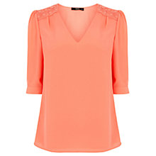 Buy Oasis Lace Trim Tabby Blouse Online at johnlewis.com