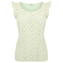 Buy Oasis Lace Frill Shell Top, Teal Green Online at johnlewis.com