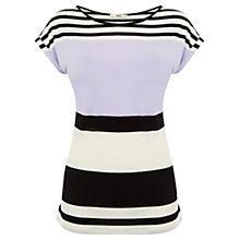 Buy Oasis Shadow Stripe T-shirt, Multi Lilac Online at johnlewis.com