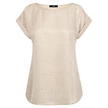 Buy Oasis Animal Jacquard T-shirt, Brandied Pears Online at johnlewis.com