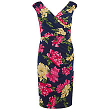 Buy Gina Bacconi Floral Print Knot Dress, Navy/Pink Online at johnlewis.com