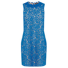 Buy Oasis Lace Trimmed Oriental Dress, Rich Blue Online at johnlewis.com