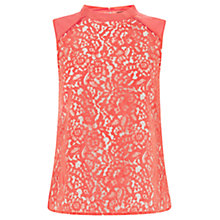 Buy Oasis Leaf Lace Shell Top, Soft Orange Online at johnlewis.com
