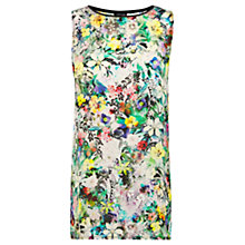Buy Warehouse Long Line Floral Top, Multi Online at johnlewis.com