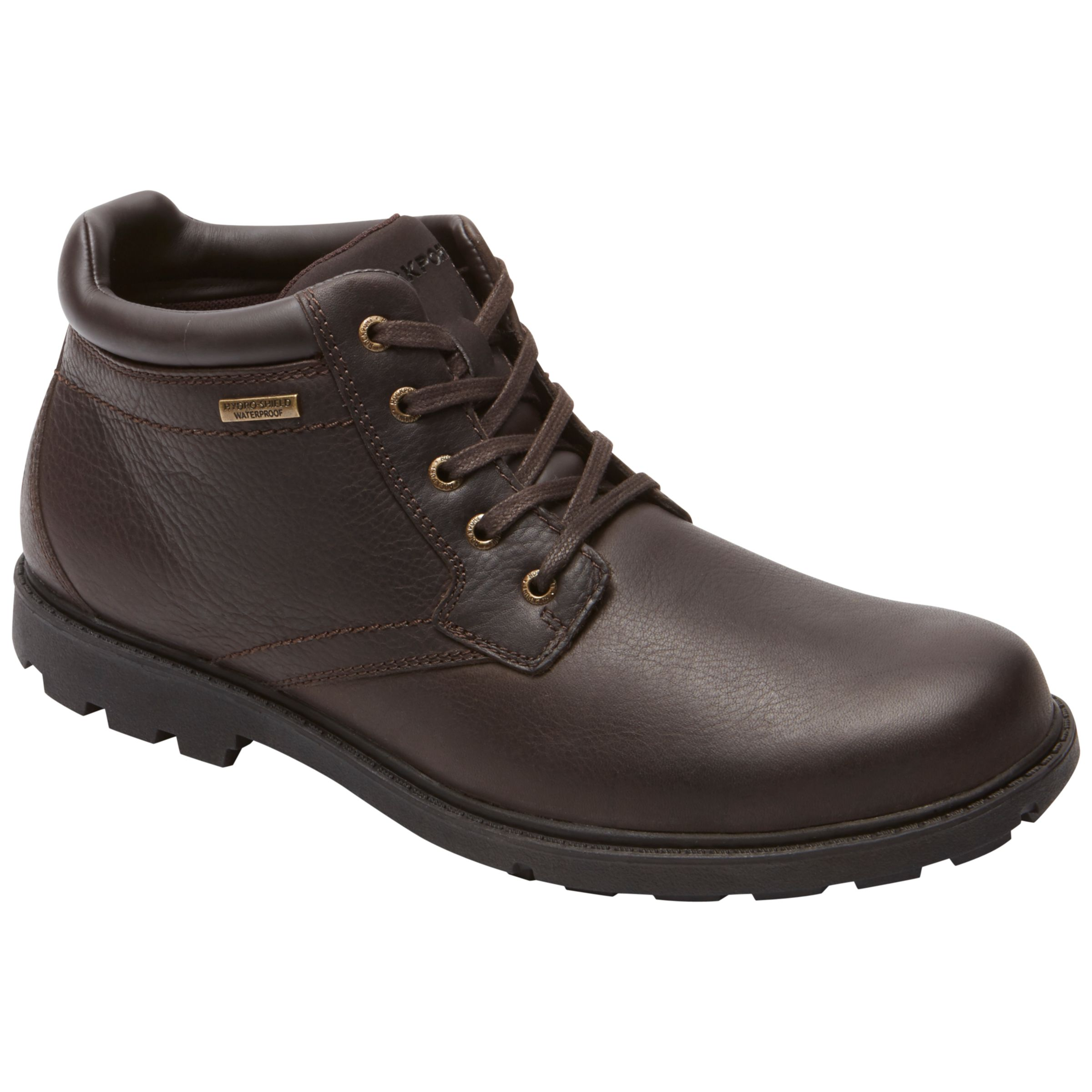 Rockport Rockport Rugged Bucks Plain Toe Leather Boots, Dark Brown