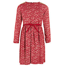 Buy John Lewis Girl Print Dress With Sequins, Burgundy Online at johnlewis.com