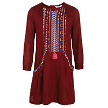 Buy John Lewis Girl Embroidered Cotton Dress, Burgundy Online at johnlewis.com