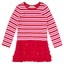 Buy Jigsaw Junior Girls' Sequin Ruffle Dress, Pink Online at johnlewis.com
