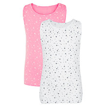 Buy John Lewis Girl Stars Vest, Pack of 2, Pink/White Online at johnlewis.com