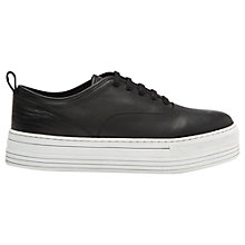 Buy Whistles Leather Lace Up Flatform Sneakers, Black Online at johnlewis.com