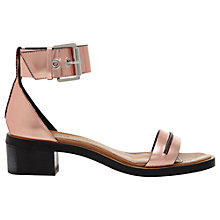 Buy Whistles Luma Leather Block Heel Sandals, Rose Gold Online at johnlewis.com