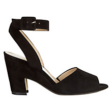 Buy Hobbs Larna Block Heel Peep Toe Sandals, Black Suede Online at johnlewis.com