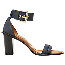 Buy Whistles Senna Leather Block Heel Sandals, Navy Online at johnlewis.com