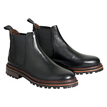 Buy H by Hudson Wistow Leather Cleated Sole Chelsea Boots, Black Online at johnlewis.com