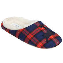 Buy John Lewis Tartan Reindeer Vamp Faux Fur Slippers, Navy Online at johnlewis.com