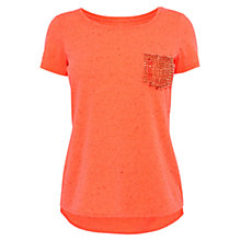 Buy Karen Millen Slub Texture T-Shirt, Coral Online at johnlewis.com