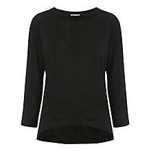 Buy Whistles Holly 3/4 Sleeve Linen T-Shirt, Black Online at johnlewis.com