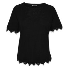 Buy Whistles Lace Trim Linen Top, Black Online at johnlewis.com