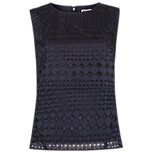 Buy Whistles Eyelet Broiderie Top, Navy Online at johnlewis.com