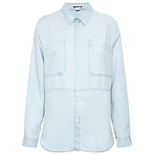 Buy Whistles Romy Longline Shirt, Pale Blue Online at johnlewis.com