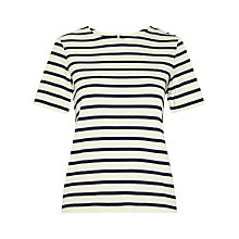 Buy Whistles Zip Back Striped T-Shirt, Blue/White Online at johnlewis.com