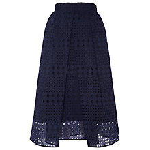 Buy Whistles Eyelet Broiderie Skirt, Navy Online at johnlewis.com