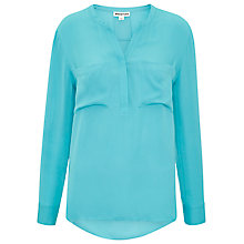 Buy Whistles Elsa Longline Silk Blouse, Turquoise Online at johnlewis.com