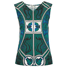 Buy Whistles Medallion Print Silk Top, Green/Multi Online at johnlewis.com