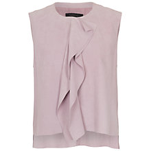 Buy French Connection Sandie Suede Frill Detail Top, Orchard Ice Online at johnlewis.com
