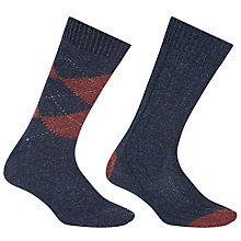 Buy John Lewis Made in Italy Wool Silk Argyle Socks, Pack of Two Online at johnlewis.com
