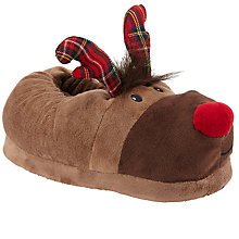Buy John Lewis Reindeer Slippers, Brown Online at johnlewis.com