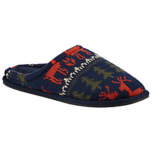 Buy John Lewis Fair Isle Knit Reindeer Mule Slippers, Navy Online at johnlewis.com