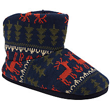 Buy John Lewis Reindeer Fair Isle Knitted Boot Slippers, Navy Online at johnlewis.com