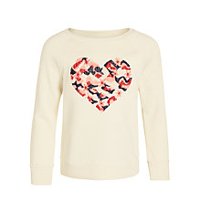 Buy John Lewis Girl Long Sleeve Heart Embroidery Sweatshirt, Cream Online at johnlewis.com