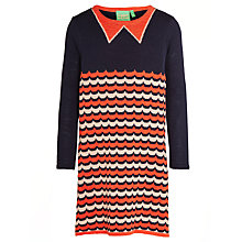 Buy Donna Wilson for John Lewis Girls' Wave Knit Dress, Navy/Orange Online at johnlewis.com