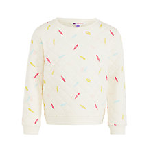 Buy John Lewis Girl Feather Quilt Sweat Top, Cream Online at johnlewis.com