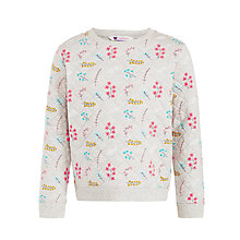 Buy John Lewis Girl Floral Quilted Jumper, Grey Online at johnlewis.com