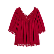 Buy Mango Openwork Trim Blouse, Cherry Online at johnlewis.com