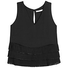 Buy Mango Ruffled Top, Black Online at johnlewis.com