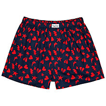 Buy Happy Socks Punk Love Woven Boxers, Navy/Red Online at johnlewis.com
