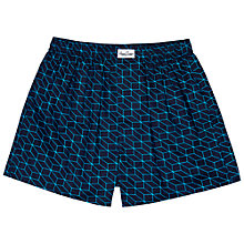 Buy Happy Socks Optic Woven Boxers, Blue Online at johnlewis.com