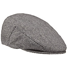 Buy John Lewis Dogtooth Wool Flat Cap, Black/White Online at johnlewis.com
